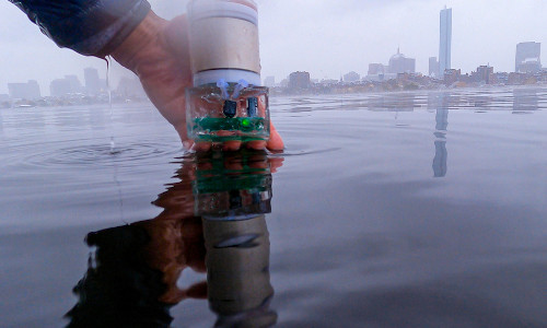 The underwater navigation system being put into the water